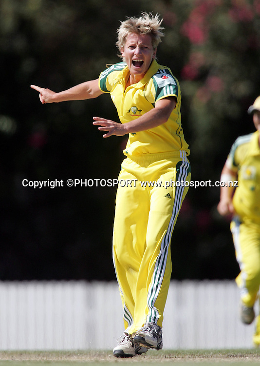 Australia's Cathryn successfully appeals the wicket of Haidee Tiffen during the first ODI Rose Bowl cricket match between the White Ferns and Australia at Allan Border Field, Brisbane, Australia, on Friday 20 October 2006. Australia won the match by 2 with a total of 201. Photo: Renee McKay/PHOTOSPORT<br /><br /><br />201006