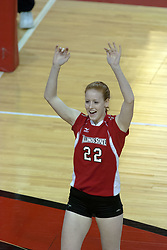 09 OCT 2005  Redbird Lindley McDavid celebrates after a go ahead point. The Illinois State University Redbirds hosted arch rival Bradley University Braves.  The Redbirds soared over the Braves, taking the match in 4 games, losing only game number 2.  Action included play by Braves Star Lindsey Stalzer who is ranked no. 7 in the nation in kills per game.  The first defeat of the conference season for the Braves took place at Redbird Arena on Illinois State's campus in Normal IL.