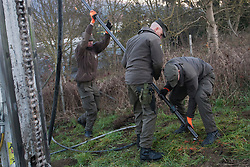 Licensed to London News Pictures. 07/12/2015. Spielfeld, Austria. Austria is building a fence to stop migrants at the border crossing between Austria and Slovenia in Spielfeld. Photo: Marko Vanovsek/LNP