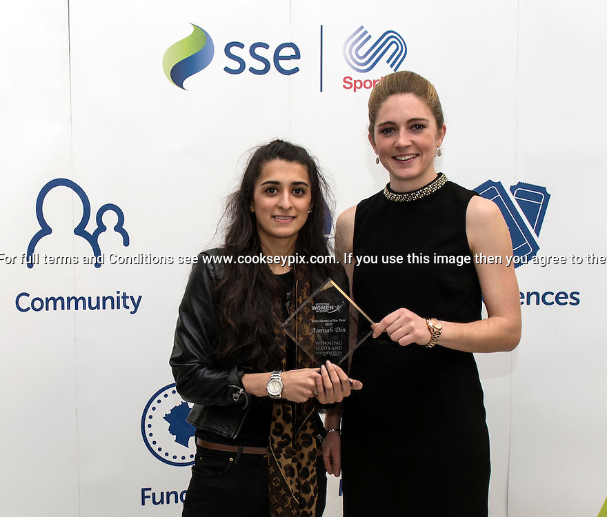 Picture by Christian Cooksey/CookseyPix.com on behalf of the Scottish Women in Sports Awards.<br /> <br /> Pictured at the Scottish Women In Sports Awards held at Hampden Park Glasgow is Aminah Din, winner of the Winning Scotland Foundation 2015 Role Model OTY Captain and Gemma Fay, The Scotland National team goalkeeper<br /> <br /> <br /> For full terms and conditions see www.cookseypix.com