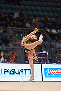 Greta Evangelisti from Pontevecchio team during the Italian Rhythmic Gymnastics Championship in Bologna, 9 February 2019. Pontevecchio by Bologna is the organizer of this event.