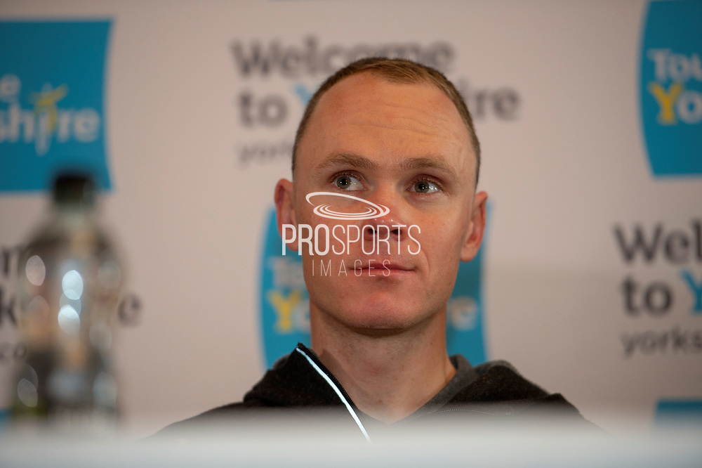 Christopher Froome OBE during the Eve of tour press conference ahead of the first stage of the Tour de Yorkshire in the Leeds Civic Hall, Leeds, United Kingdom on 1 May 2019.