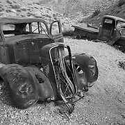 Abandoned Vehicles - Journigan's Mill Dry River Bed - Death Valley, CA - Black & White
