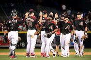 PHOENIX, AZ - MAY 28:  Michael Bourn #1 of the Arizona Diamondbacks (C) celebrates with teammates after defeating the San Diego Padres 8-7 at Chase Field on May 28, 2016 in Phoenix, Arizona. (Photo by Jennifer Stewart/Getty Images)
