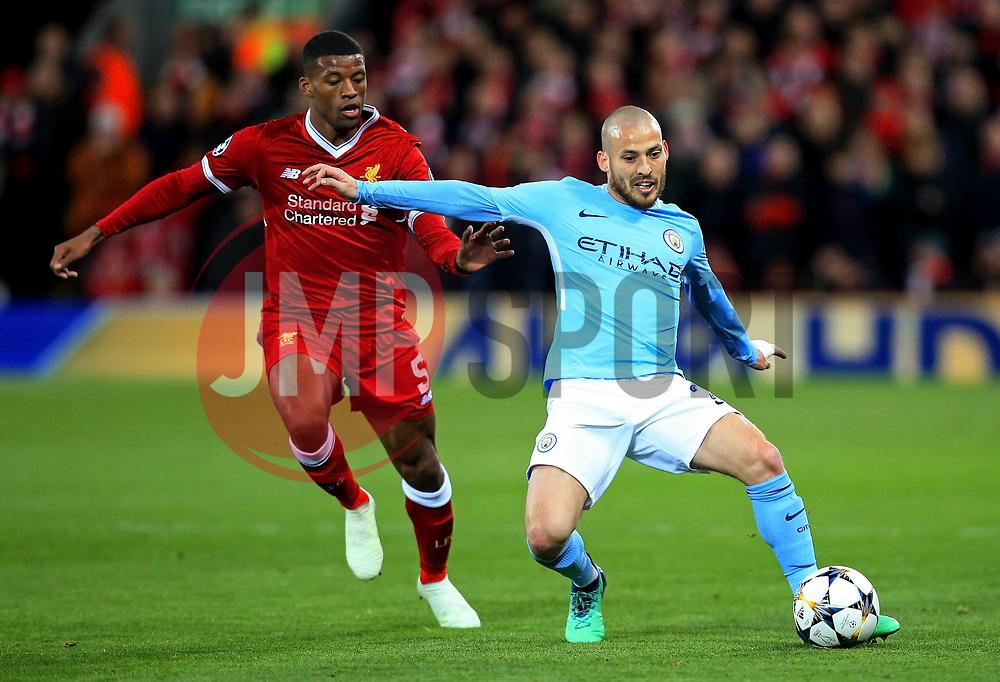 David Silva of Manchester City and Georginio Wijnaldum of Liverpool - Mandatory by-line: Matt McNulty/JMP - 04/04/2018 - FOOTBALL - Anfield - Liverpool, England - Liverpool v Manchester City - UEFA Champions League Quarter Final