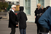 Karl Lagerfeld with model and crew during a shoot on Fulton Landing, Brooklyn, NY, March 24, 2008