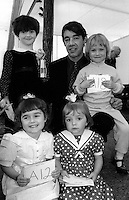 """Roger Lloyd Pack, Trigger in """"Only Fools and Horses"""" with Miss Miners Lamp on left Sarah Vernon, Thurcroft. Also shown are runners up Laura Sanders, Barnsley Main; Heidi Beetham, Askern, Gemma Colton, Bentley. 1991 Yorkshire Miners Gala. Doncaster."""