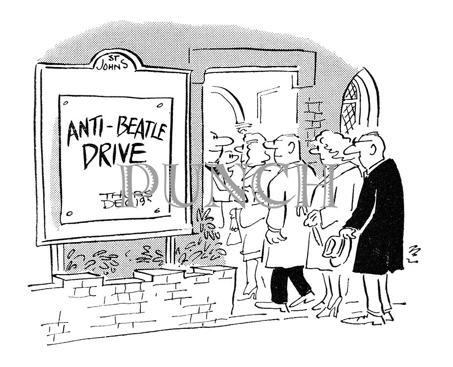 (Parishioners streaming into a church hall that is holding an event called 'Anti-Beatle Drive')