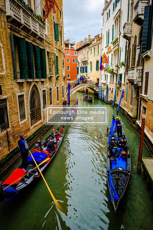Gondolas on a canal in Venice, Italy<br /> <br /> (c) Andrew Wilson   Edinburgh Elite media