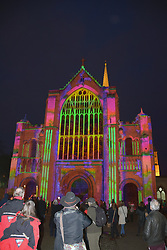 Love Light Norwich Festival - 'Love Always Wins' projection onto the facade of Norwich Cathedral. UK February 2020