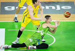 Cameron Bairstow of Australia vs Alen Omic of Slovenia during friendly basketball match between National teams of Slovenia and Australia, on August 4, 2015 in Arena Stozice, Ljubljana, Slovenia. Photo by Vid Ponikvar / Sportida
