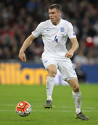 James Milner of England - Mandatory byline: Paul Terry/JMP - 07966 386802 - 09/10/2015 - FOOTBALL - Wembley Stadium - London, England - England v Estonia - European Championship Qualifying - Group E