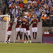 Juan Mata, Chelsea, shoots a free kick over the AC MIlan wall and the bar during the Chelsea V AC Milan Guinness International Champions Cup tie at MetLife Stadium, East Rutherford, New Jersey, USA.  4th August 2013. Photo Tim Clayton