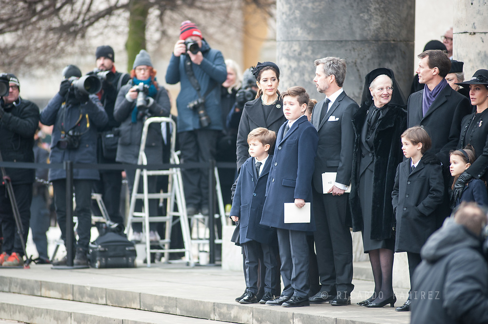 20.02.2018. Copenhagen, Denmark. <br /> Crown Princess Mary,  Crown Prince Frederik, Princess Josephine, Prince Vincent, Prince Christian, Princess Isabella, Queen Margrethe II, Prince Joacim, Princess Marie, Prince Henrik and Princess Athena on the steps of the church, looking on as the car carrying Prince Henrik departs following the service.<br /> Photo: Ricardo Ramirez.