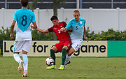 Portugal defender Antonio Teixeira (3) and Slovenia defender Gasper Cerne (5) fight for possession of the ball during a CONCACAF boys under-15 championship soccer game, Sunday, August 11, 2019, in Bradenton, Fla. Portugal defeated Slovenia in the final in 2-0. (Kim Hukari/Image of Sport)