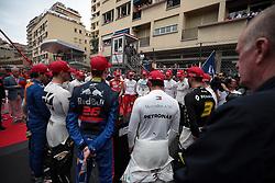 May 26, 2019 - Monte Carlo, Monaco - xa9; Photo4 / LaPresse.26/05/2019 Monte Carlo, Monaco.Sport .Grand Prix Formula One Monaco 2019.In the pic: The drives observe the national anthem (Credit Image: © Photo4/Lapresse via ZUMA Press)