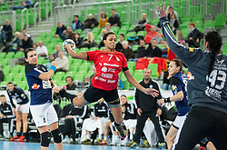 Allison Pineau of RK Krim  vs Marta Zderic of Buducnost during handball match between RK Krim Mercator (SLO) and RK Buducnost (MNE) in Round #3 of Main Round of EHF Women's Champions League 2014/15, on February 13, 2015 in Arena Stozice, Ljubljana, Slovenia. Photo by Vid Ponikvar / Sportida