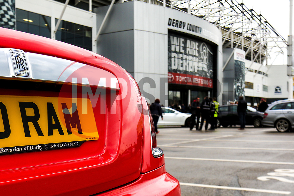A Rolls Royce with a personalised Derby County number plate parked outside the Pride Park Stadium, home to Derby County - Mandatory by-line: Ryan Crockett/JMP - 11/05/2019 - FOOTBALL - Pride Park Stadium - Derby, England - Derby County v Leeds United - Sky Bet Championship Play-off Semi Final 1st Leg