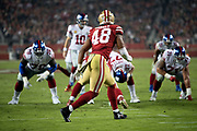 San Francisco 49ers rookie middle linebacker Fred Warner (48) surveys the offense as he looks on during the NFL week 10 regular season football game against the New York Giants on Monday, Nov. 12, 2018 in Santa Clara, Calif. The Giants won the game 27-23. (©Paul Anthony Spinelli)