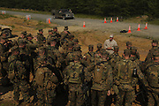 Marine Corps Base Quantico..Officers listening to instructor at roadblock training. .The Basic School at Camp Barrett  is where all incoming Marine officers are trained. Seven companies of about 300 officers come through every year..Bravo company, shown here, undergoes training before sent out to lead Marine units.
