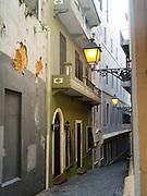 Peering down a street in Old San Juan/Viejo San Juan.