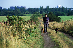 Man walking his dogs; proposed sight of green fields urban development; Great Park; Newcastle upon Tyne