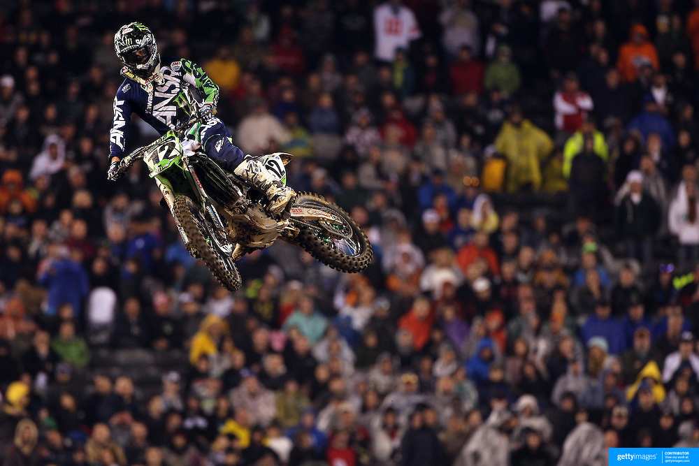 Jacob Weimer, Kawasaki, in action during the final of the 450SX Class Championship during round 16 of the Monster Energy AMA Supercross series held at MetLife Stadium. 62,217 fans attended the event held for the first time at MetLife Stadium, New Jersey, USA. 26th April 2014. Photo Tim Clayton
