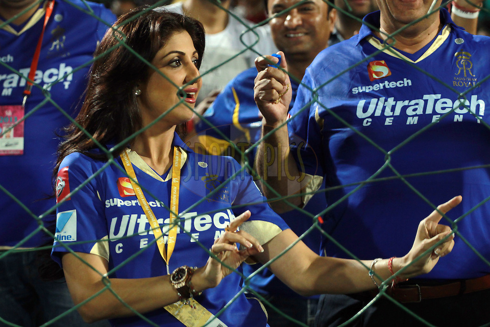 Shilpa Shetty dancing in celebration of her team's victory during match 61 of the Pepsi Indian Premier League ( IPL) 2013  between The Rajasthan Royals and the Chennai Super Kings held at the Sawai Mansingh Stadium in Jaipur on the 12th May 2013. Photo by Jacques Rossouw-IPL-SPORTZPICS  ..Use of this image is subject to the terms and conditions as outlined by the BCCI. These terms can be found by following this link:..http://www.sportzpics.co.za/image/I0000SoRagM2cIEc