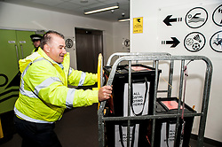 The first ballot boxes from polling stations in the Glenrothes constituency arrive at the Fife counting centre in Glenrothes.<br /> <br /> &copy; Dave Johnston/ EEm