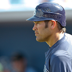 February 26, 2011; Port Charlotte, FL, USA; Tampa Bay Rays left fielder Johnny Damon (22) during a spring training exhibition game against the Pittsburgh Pirates at Charlotte Sports Park.  Mandatory Credit: Derick E. Hingle