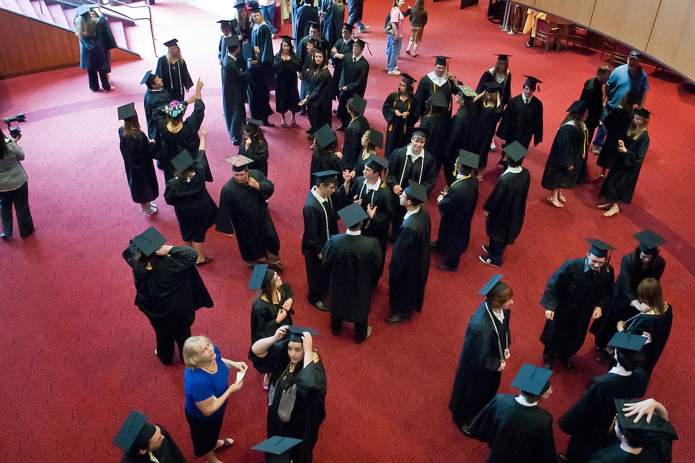 Lathan Goumas | MLive.com..Graduates gather before the start of the LakeVille Memorial High School commencement ceremony at the Whiting Theater in Flint, Mich. on Wednesday June 6, 2012.