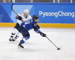 February 11, 2018 - Pyeongchang, KOREA - United States forward Monique Lamoureux-Morando (7) and Finland forward Noora Tulus (24) during the women's hockey group A play during the Pyeongchang 2018 Olympic Winter Games at Kwandong Hockey Centre. The USA beat Finland 3-1. (Credit Image: © David McIntyre via ZUMA Wire)
