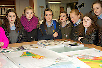 05/12/2013   Poet Ciara MacDonald, (3rd from left) from Scoil Mhuire Oranmore Galway on the Marine Institute's Flagship research vessel The Celtic Explorer for  a tour won for her classmates with a poem she wrote. Photo:Andrew Downes.
