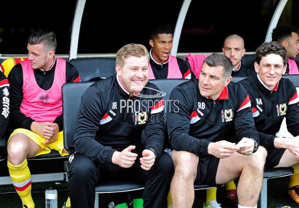 MK Dons Manager Karl Robinson during the Sky Bet Championship match between Fulham and Milton Keynes Dons at Craven Cottage, London, England on 2 April 2016. Photo by Jon Bromley.