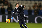 Leicester City forward Jamie Vardy  during the Barclays Premier League match between Leicester City and Manchester City at the King Power Stadium, Leicester, England on 29 December 2015. Photo by Simon Davies.