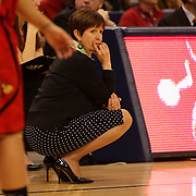 Muffet McGraw, Notre Dame Head Coach, in action during the Notre Dame Fighting Irish V Louisville Cardinals Semi Final match during the Big East Conference, 2013 Women's Basketball Championships at the XL Center, Hartford, Connecticut, USA. 11th March. Photo Tim Clayton