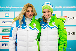 Tamara Dorofejev and Nina Polsak during presentation of Slovenian Young Athletes before departure to EYOF (European Youth Olympic Festival) in Vorarlberg and Liechtenstein, on January 21, 2015 in Bled, Slovenia. Photo by Vid Ponikvar / Sportida