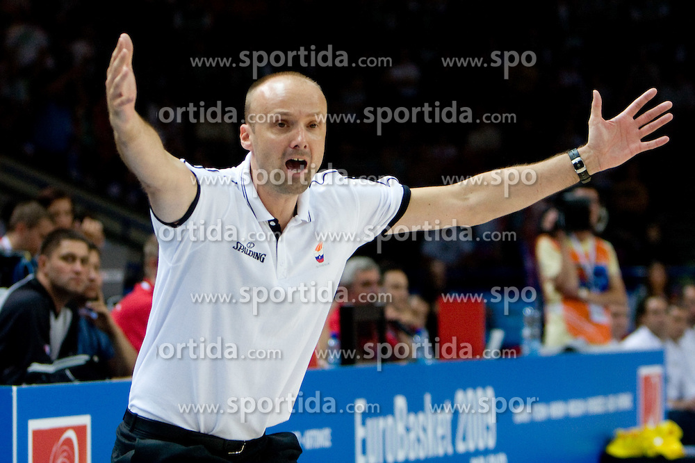 Head coach of Slovenia Jure Zdovc during the basketball match at 1st Round of Eurobasket 2009 in Group C between Slovenia and Spain, on September 09, 2009 in Arena Torwar, Warsaw, Poland. (Photo by Vid Ponikvar / Sportida)