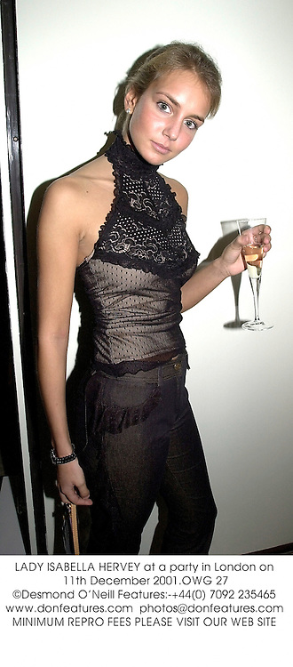 LADY ISABELLA HERVEY at a party in London on 11th December 2001.OWG 27