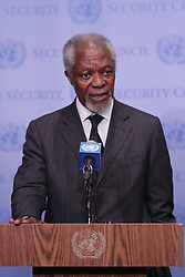Kofi Annan, Chair of the Advisory Commission on Rakhine State (Myanmar) and former Secretary-General of the UN, briefs journalists on the situation in Myanmar at the United Nations Headquarters in New York,NY on October 13 2017. (Photo by Luiz Rampelotto/EuropaNewswire)