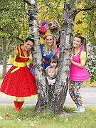Repro Free: 15/10/2014 Ben O'Goman (5) and Seamus Long (5) from Phibsborough are pictured with the stars of the new series Twigín, Muireann Ní Chiobháin, Emma O'Driscoll, Clara Murray, Seamus the Dog and Bláithín the flower fairy, to launch an exciting new season of programming on RTÉJr, the award-winning TV, Radio and Online service designed specifically for youngsters aged under 7 and their older friends and family. Donncha O'Callaghan will present a new series called What's Your Game? on RTÉjr from 3 November 2014 as part of RTÉjr Awesome Autumn schedule. Picture Andres Poveda Photography