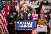 Presidential hopeful Donald J. Trump (R-Ny) campaigns at the Giant Center in Hersey, Pennsylvania.