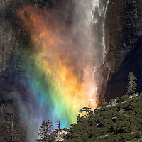 Rainbow across the face of Upper Yosemite Falls