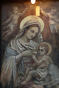 Madonna, pictorial representation of Mary with the infant Jesus, Kalsa district, Palermo, Sicily, Italy. Picture by Manuel Cohen