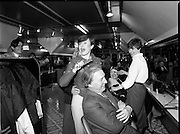 15/05/1982<br /> 05/15/1982<br /> 15 May 1982<br /> An Taoiseach, Mr Charles Haughey, canvasing with Fianna Fail bye-election candidate Eileen Lemass in Dublin West. The Taoiseach has his hair combed by Sandra Curley of Cabra in the Peter Mark Hairdressing Shop in the Superquinn Centre, Blanchardstown.