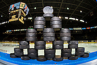 KELOWNA, CANADA - SEPTEMBER 24: Pucks stacked on the boards on September 24, 2016 at Prospera Place in Kelowna, British Columbia, Canada.  (Photo by Marissa Baecker/Shoot the Breeze)  *** Local Caption *** Pucks;