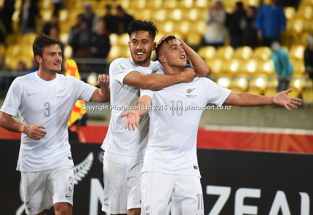 Clayton Lewis celebrates his goal during the FIFA U20 World Cup football match, New Zealand Junior All Whites v Myanmar. Wellington, New Zealand on Friday 5 June 2015. Copyright Photo: Andrew Cornaga / www.photosport.co.nz