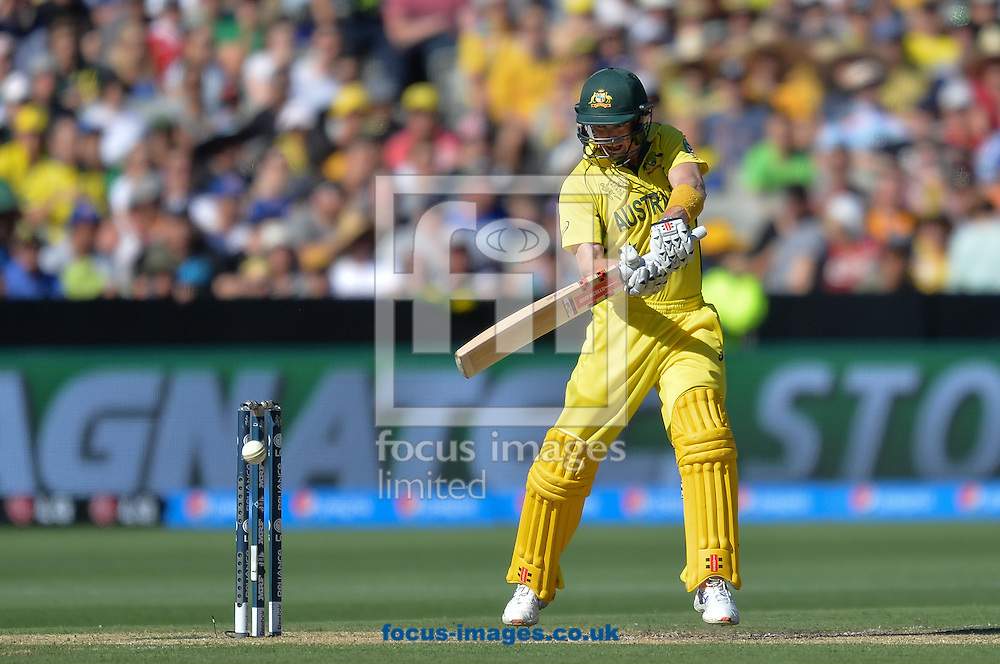George Bailey of Australia bats during the 2015 ICC Cricket World Cup match at Melbourne Cricket Ground, Melbourne<br /> Picture by Frank Khamees/Focus Images Ltd +61 431 119 134<br /> 14/02/2015