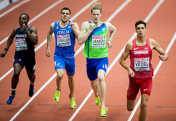 Thomas Jordier of France, Mario Lambrughi of Italy, Luka Janezic of Slovenia and Lobo Benjamin Vedel of Denmark compete in the Men's 400 metres heats on day one of the 2017 European Athletics Indoor Championships at the Kombank Arena on March 3, 2017 in Belgrade, Serbia. Photo by Vid Ponikvar / Sportida