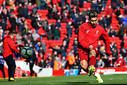 Liverpool forward Roberto Firmino (9) warming up during the Premier League match between Liverpool and Burnley at Anfield, Liverpool, England on 10 March 2019.
